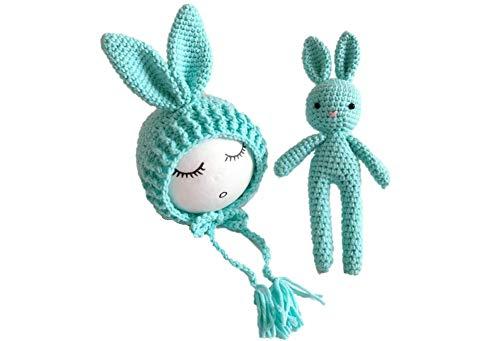 Kostüm Besten Am Neugeborenen - Matissa Hasenhut und Puppe Set Neugeborenes Baby häkeln Kostüm Fotografie Prop (Blau)