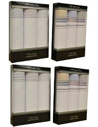 4 paquets de 3 Hommes couleur rayé par une ligne de mouchoirs 100 % coton, dans une boîte cadeau
