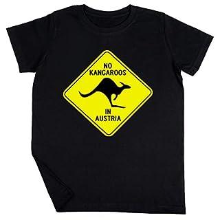 NO Kangaroos IN Austria - Australia Schwarz T-Shirt Jungen Mädchen Größe S | Unisex Kids Black T-Shirt Size S