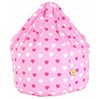 Cotton Pink Hearts Girls Bean Bag Child Size