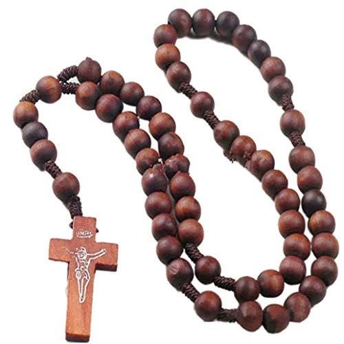 Bontand Holz Kornchoker Ketten Religiöse Katholische Kruzifix Rosenkranz Kreuz Anhänger Halskette Für Männer