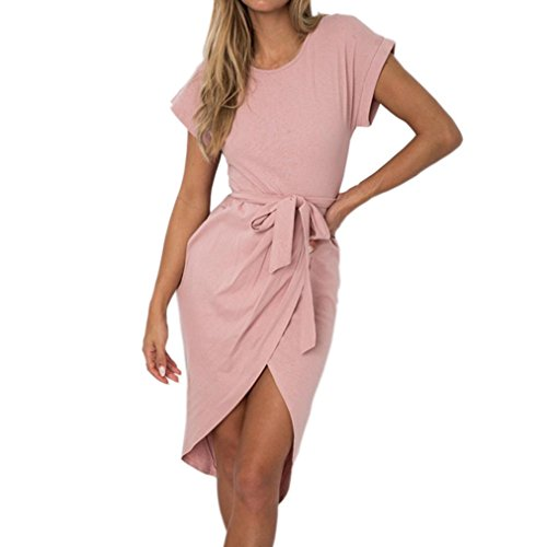 UFACE Damen Rundhals KurzäRmeliges UnregelmäßIges Kleid Frauen Sommer Kurzschluss HüLsen Arbeits DüNner Asymetrischer Fester Gurt Minikleid (XL, Rosa)