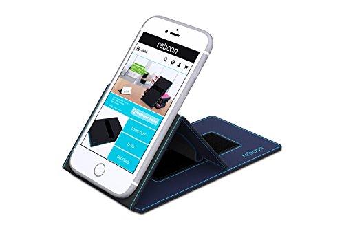 Étui pour Apple iPhone 4 de couleur Cuir Marron - Boîtier innovateur 4 en 1 Coque Smart Cover Case - Support mural anti-gravité, porte-smartphone de voiture, support de table - Boîtier de protection m Bleu