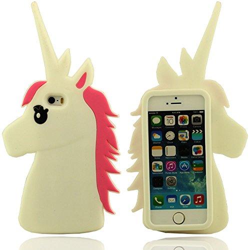 Effacer Design Mignon Shape Cartoon unimon Unicorn Soft Cover Etui Coque de protection case pour Apple iPhone 5 5S 5G Weiß