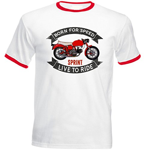 TEESANDENGINES Men's AERMACCHI Sprint Red Ringer T-Shirt Size Medium -
