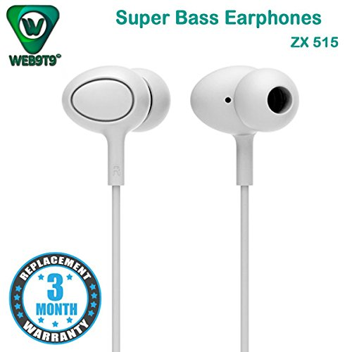 WEB9T9 Stereo Earphone Hands-Free 3.5Mm Jack In-Ear Super Extra Bass Headphone Headset With Mic Compatible with Samsung, Motorola, Sony, Oneplus, HTC, Lenovo, Nokia, Asus, Lg,Oppo,Vivo, Coolpad, Xiaomi, Micromax and All Mobiles.  available at amazon for Rs.299