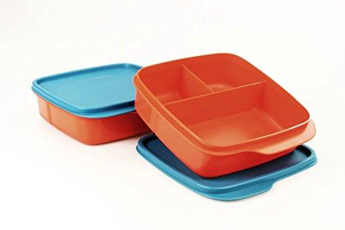 TUPPERWARE To Go Lunchbox 550 ml (2) orange/blau mit Trennwand Clevere Pause 16267
