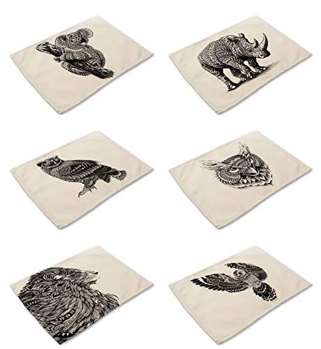 Tovagliette set 6, lino e cotone tessuto miscelato vintage lavabile creativo minimalista grigio gufi rinoceronte lion e più retro animale effetto disegno stampato stoffa per tutta la famiglia