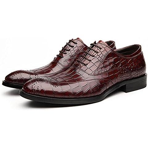 WZG zapatos casuales de cocodrilo patrón de cuero zapatos de cuero de los nuevos hombres de invierno zapatos planos señalaron los zapatos zapatos de la boda 9,54 , wine red , 44