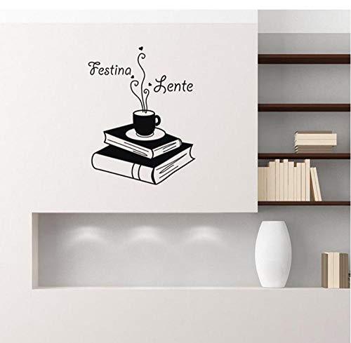 Wandtattoos Festina Lente Zitate Bücher Kaffee Lesen Regal Vinyl Aufkleber Aufkleber Wohnkultur Wohnzimmer Büro Studie Wandbilder 42x54 cm