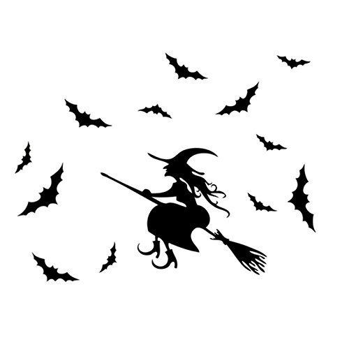Haodou Wandtattoos Hexe Design Wandsticker Selbstklebend Wandaufkleber Neuheit Fensterdeko für Halloween Dekoration Schwarz