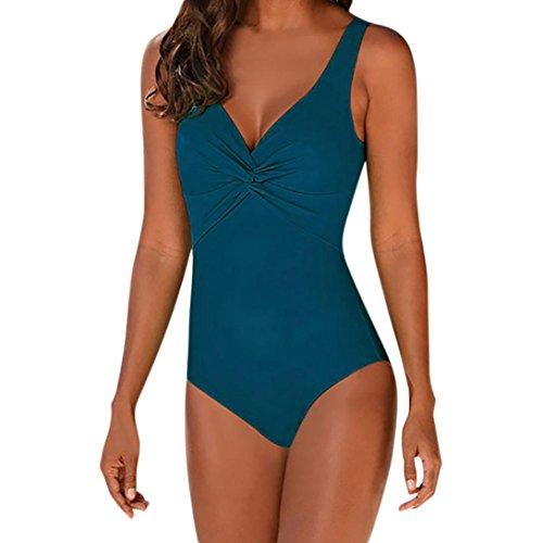 OVERDOSE Frauen Fest Ein Stück Badeanzug Design Bikini one Piece Bademode Beachwear Badeanzug Overall Bikinis(Green,S (Dot Mädchen Badeanzug Polka)