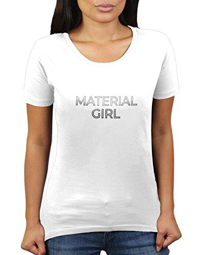 Likoli Material Girl - Konzert Party Outfit 80er 90er - Damen T-Shirt von KaterLikoli, Gr. M, Weiß