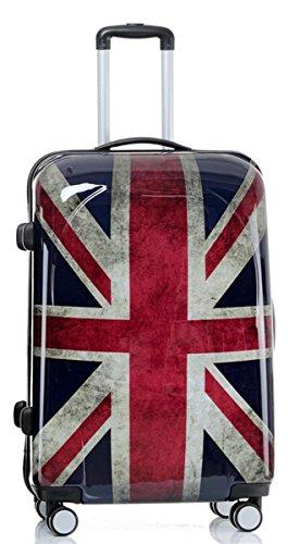 set di fino a 3 valigie bagaglio trolley abs policarbonato rigido leggero 4 ruote 360° con motivo BB (Bandiera Inglese, XL)
