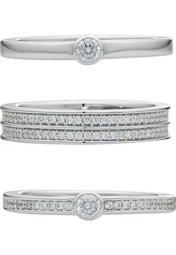 JETTE Silver Damen-Ring Staking Rings 925er Silber 140 Zirkonia silber, 53 (16.9)