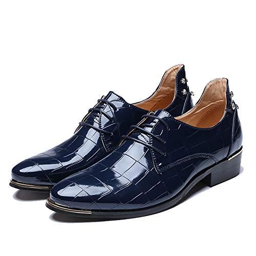 Apragaz Oxford-Abendschuhe für Herren, Klassische britische Art-Retro-Raster-Beschaffenheit-Lackleder (Color : Blau, Größe : 37 EU)