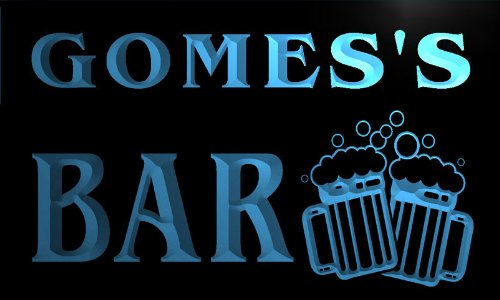 w001606-b-gomes-name-home-bar-pub-beer-mugs-cheers-neon-light-sign