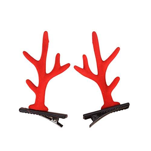 Demino 1 Paar Nette Deer Katzenohren Antlers Ohr Kopf Clips Haarnadel Ohr Cosplay Haar-Klipp-Weihnachtsfest-Performance-Kostüm Zubehör (Einfach Rote Haare Kostüm)