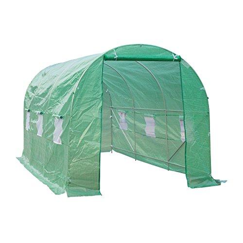 OUTSUNNY Invernadero de Cultivo para Terraza o Jardín - Color Verde - Tubo Acero y PE 140g/㎡ -...