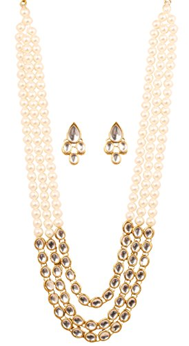 Touchstone Indian Kundan Polki Look Triple Line Faux Pearls Alloy Metal Jewelry...