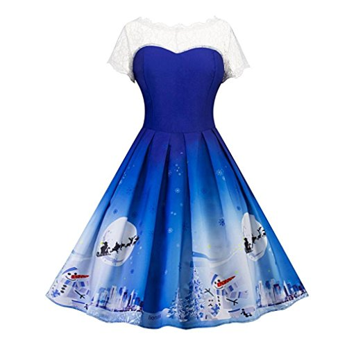 dressing up costumes christmas dress Hirolan Women's Cocktail Dress christmas decorations sale clearance christmas pattern slim fit retro o-neck short sleeve pleated lace vintage swing dress