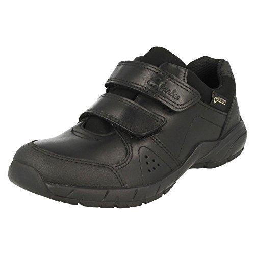 Clarks Zevi Fun GTX bébé garçons école chaussures en noir Black Leather 10½ G