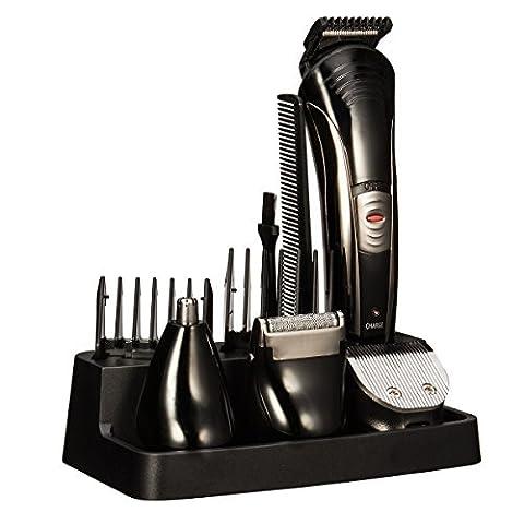 OftenTM 7 en 1 Multifonction Tondeuses à cheveux Rechargeable Toilettage Kit Cheveux Barbe Nez Tondeuse Noir