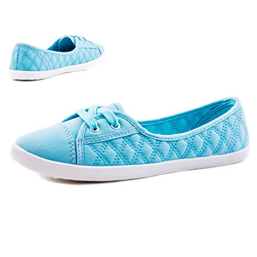 Damen Flache Schnür Sneaker Low Top Sommer Textil Halb Schuhe Hellblau