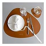 Guomao Guomao Leder Tischsets Haushalt Dreieck Oval wasserdicht und Ölisolierung Pad Bowl Mat Coaster Plate Pad (Farbe : Braun)