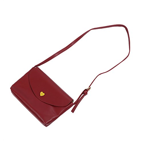 SODIAL(R) Sacchetti di spalla del corpo trasversale delle borse di cuoio delle donne calde di vendita I sacchetti del messaggero di modo dei sacchetti delle piccole donne Rosa caldo vino rosso
