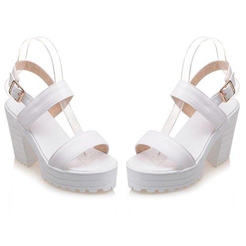 COOLCEPT Femmes Mode Cheville Sandales Orteil ouvert Bloc Slingback Chaussures Blanc
