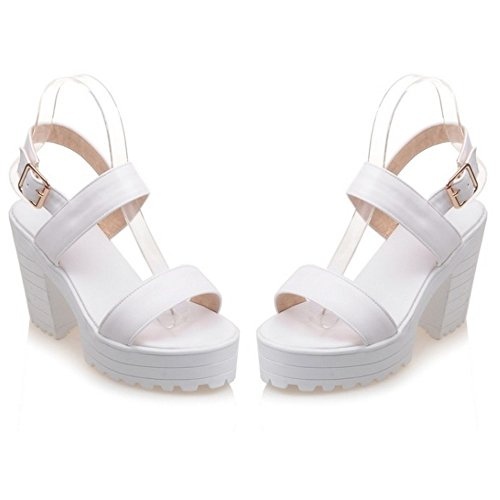 COOLCEPT Damen Mode Knochelriemchen Sandalen Open Toe Blockabsatzs Slingback Schuhe White