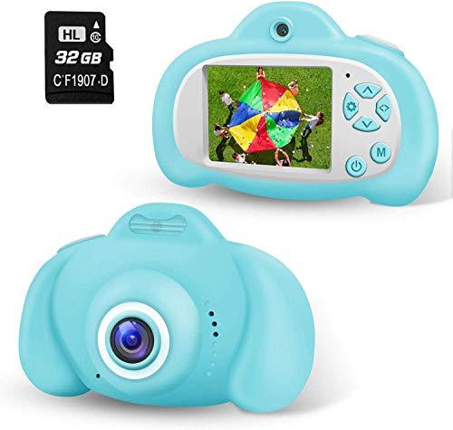 Action Kinder Kamera Digitalkamera Kinder mit 32GB TF-Karte, 2,0 Zoll Bildschirm, HD 8MP/1080P Doppellinse, wiederaufladbare Selfie Kamera für Kinder, Geschenk für 4-12 Jahre Jungs Mädchen Blau