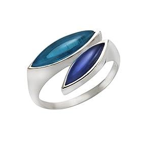 jamelli Damen-Ring 925 Silber rhodiniert Quarz blau Marquiseschliff – 300270077J