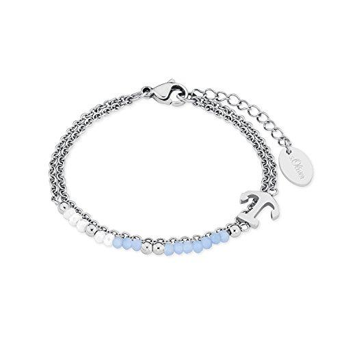 s.Oliver Damen-Armband mit Anker-Anhänger Edelstahl Glassteine blau weiß