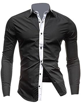 Jeansian Uomo Camicie Maniche Lunghe Moda Men Shirts Slim Fit Casual Long Sleves Fashion 8700