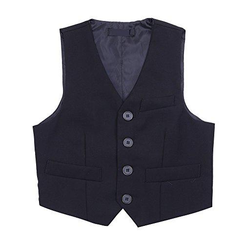 Tiaobug Anzug-Weste schwarz/blau- Gr.98-152 Kinder Jungen Weste Smoking Anzug Anzugweste festlich Schwarz 116-122 (Herstellergröße: 120)