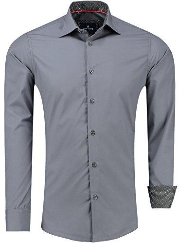 Barbons Herren Premium Business-Hemd Slim-Fit Männer Hemden für Freizeit, Business und Hochzeit - Super Modernes und Bügelleichtes Langarm Premium-Hemd Anthrazit XL