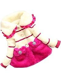 FINEJO Children Girl Winter Faux Fur Fleece Jacket Thicken Coat Outerwear