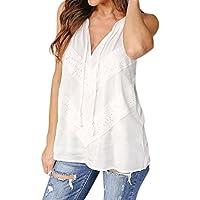 Women Lace Tops Summer Sleeveless Vest Shirt Halter Tank Tops Blouse (2XL, White)