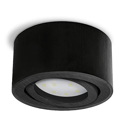 SSC-LUXon CELI-1B LED Aufbau Deckenleuchte schwarz gebürstet - flach rund & schwenkbar - Spot inkl. LED Modul 5W warmweiß 230V