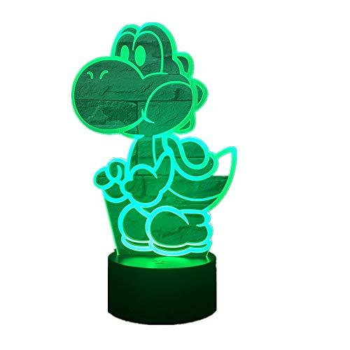Wangzj 3d illusion lampe/led nachtlicht/usb powered / 7 farben blinkende touch switch/schlafzimmer dekoration/yoshi mario -