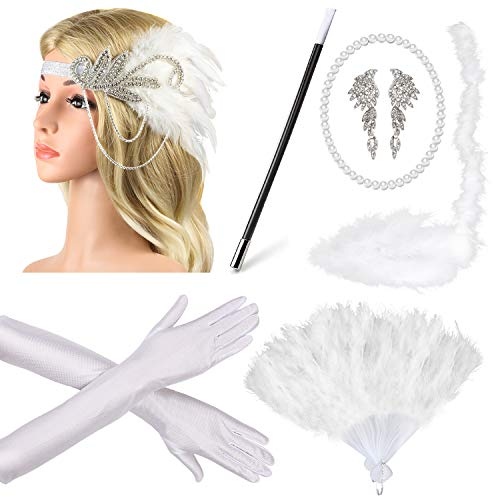 (Beelittle 1920er Jahre Zubehör Set Flapper Stirnband, Halskette, Handschuhe, Zigarettenspitze Great Gatsby Zubehör für Frauen (A1))