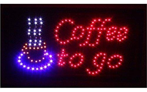 """LED Schild Leuchtschild""""GEÖFFNET""""""""OPEN"""" und viel mehr Reklame LEUCHTREKLAME Werbung versch.stylen (Coffee to go)"""