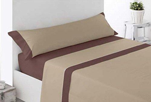 Coflor Juego de sábanas lisas - Bicolor - Tres piezas - Tacto seda - Microfibra transpirable