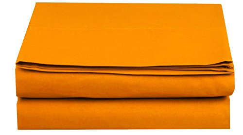 Elegant Comfort  TM Premium Hotel 1-Piece, Luxury and Softest 1500 Thread Count Egyptian Quality Bedding Flat Sheet, Wrinkle-Free, Stain-Resistant 100% Hypoallergenic, Full, Orange