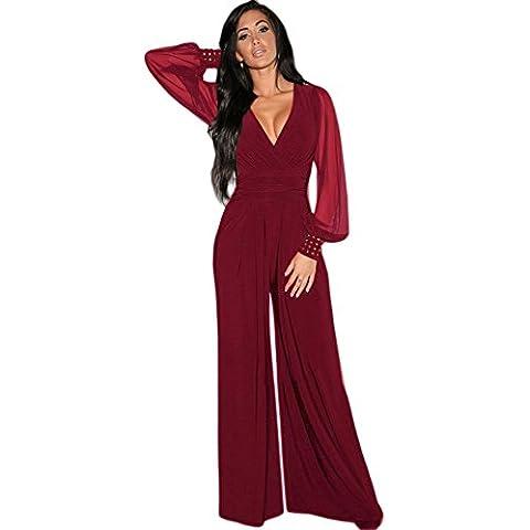 tuta elegante pantaloni lungo jumpsuit vestito abito