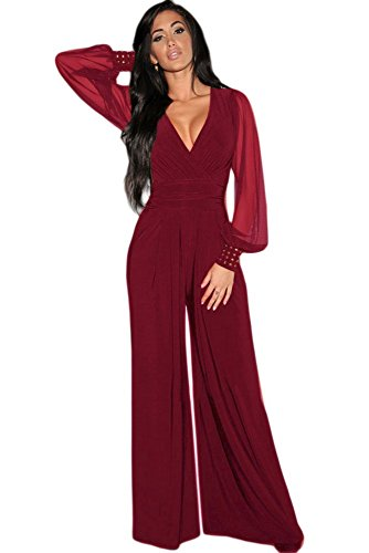 Tuta elegante pantaloni lunghi a zampa jumpsuit vestito abito cerimonia da donna, scollo a v profondo -red-s