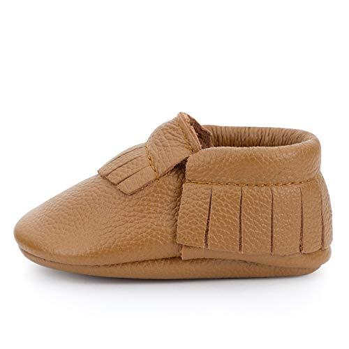 BirdRock Baby Mokassins Weichen Sohle Leder Boys und Girls Schuhe für Kinder, Babys und Kleinkinder (Preschooler | 3-4 Years | US 9.5, Brown) -