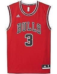 adidas Int Replica Jrsy Camiseta Chicago Bulls de Baloncesto, Hombre, Negro, L